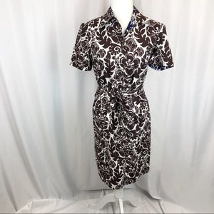 Trina Turk floral print shirt sleeve button dress
